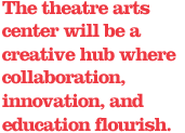 The theatre arts center will be a creative hub where collaboration, innovation, and education flourish.